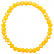 Bracelets perles à facettes 6x4mm Freesia yellow opal-pearl shine coating
