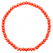 Bracelets perles à facettes 4x3mm Coral red-pearl shine coating