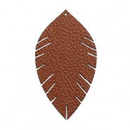 Pendentifs en simili cuir feuille medium Marron chocolat
