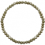 Bracelets perles à facettes 4x3mm Olive green-pearl shine coating