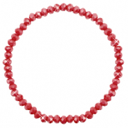 Bracelets perles à facettes 4x3mm Chillipeper red-pearl shine coating