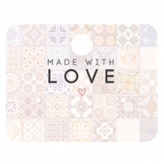 "Cartes à bijoux ""made with love"" multicolore rose pêche"